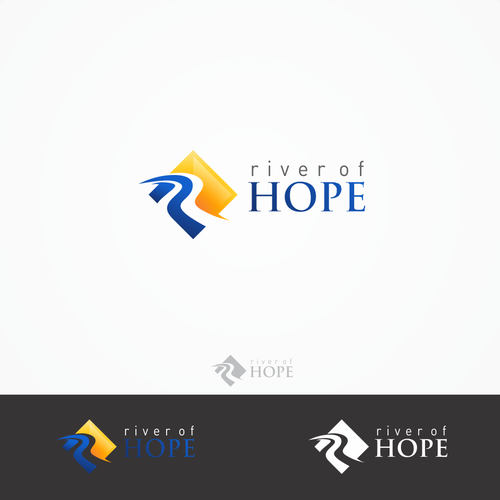 Blue and yellow logo with the title 'River of hope'