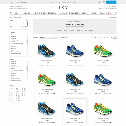 Product design website with the title 'Create a modern website design for JKY'