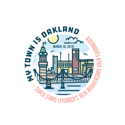 Emblem design with the title 'Super Stars Literacy - Oakland Logo'