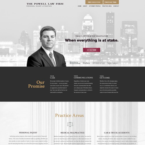 Black and white website with the title 'Website for Attorney at Law Firm'