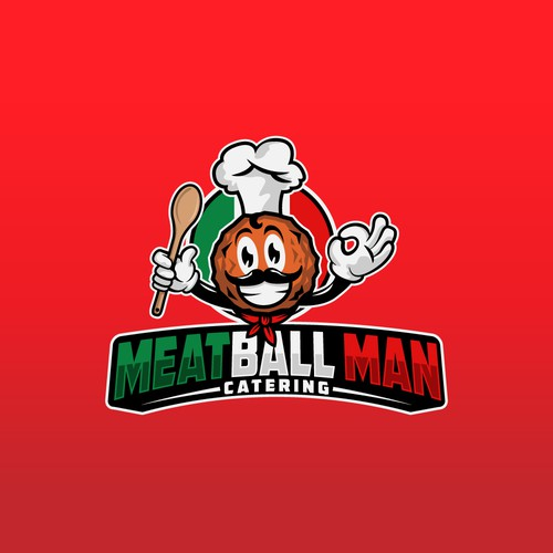 Italian cuisine logo with the title 'Meatball Man'