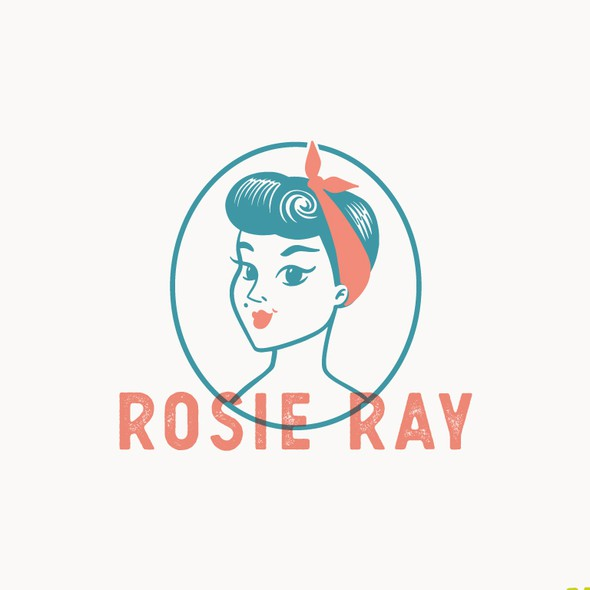 Rockabilly design with the title 'Vintage Rockabilly Girl Logo'