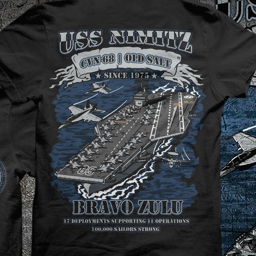 Navy design with the title 'USS Nimitz'