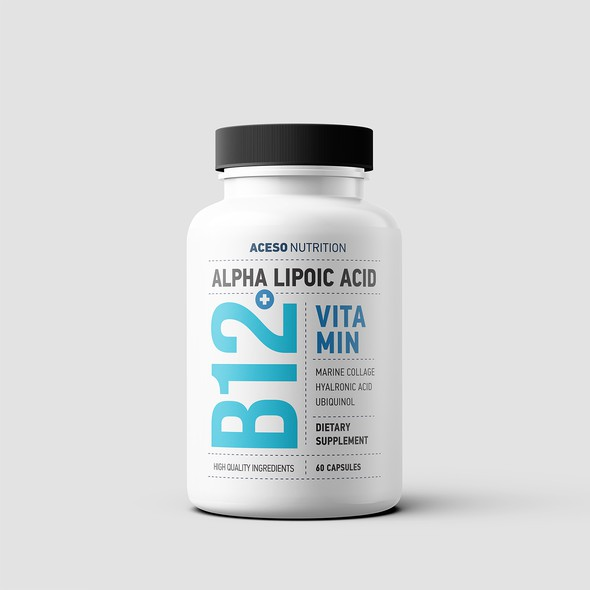 Typography packaging with the title 'Dietary Supplement Label Design'