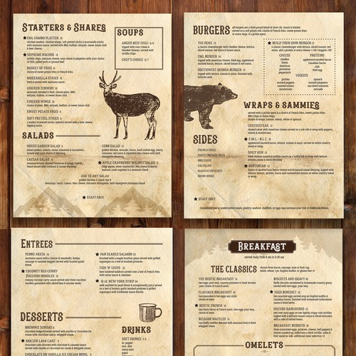 Skiing design with the title 'Rustic Lodge Restaurant Menu'