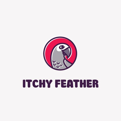 Gray and purple logo with the title 'Itchy Feather'
