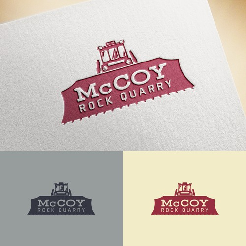 Bulldozer design with the title 'McCoy Logo Design Winner'