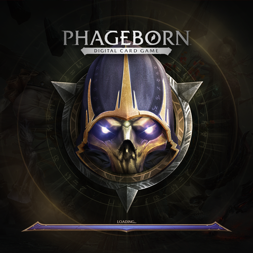 Card logo with the title 'Phageborn New Logo and Game Icon design'
