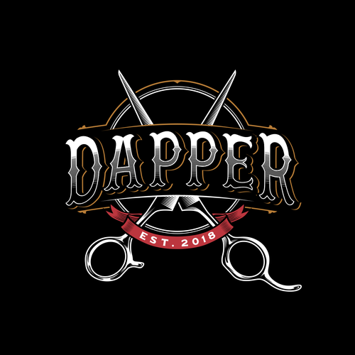 Scissors design with the title 'barber logo'