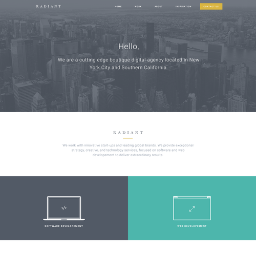 One page design with the title 'Clean minimal agency concept'