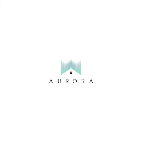 Aurora logo with the title 'LOGO CONCEPT FOR REAL ESTATE'