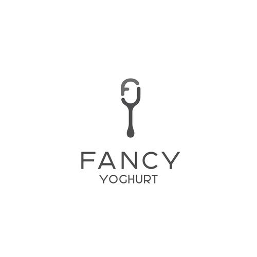 Dessert logo with the title 'Fancy yoghurt shop'