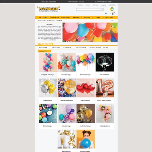 Eshop design with the title 'Site for a large grocery store for parties and celebrations.'