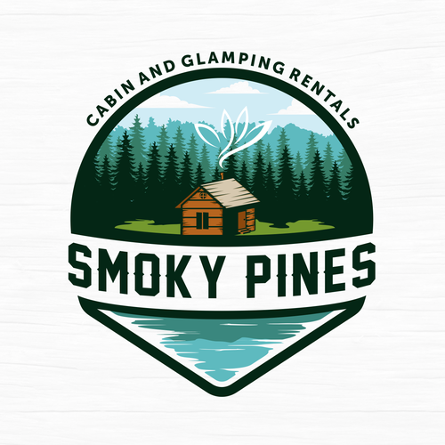 Cabin logo with the title 'Logo concept for Smoky Pines'