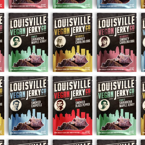 Non-GMO packaging with the title 'Refresh Louisville Vegan Jerky packaging'