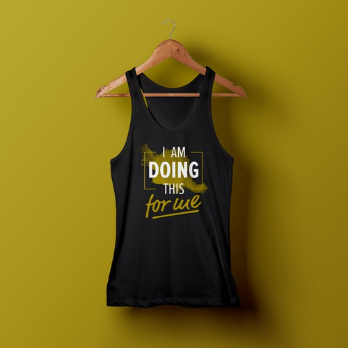 Gold t-shirt with the title 'Fitness T-Shirt - I'm Doing This For Me'