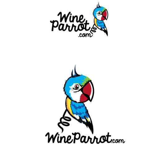 Red wine logo with the title 'Wine Parrot'