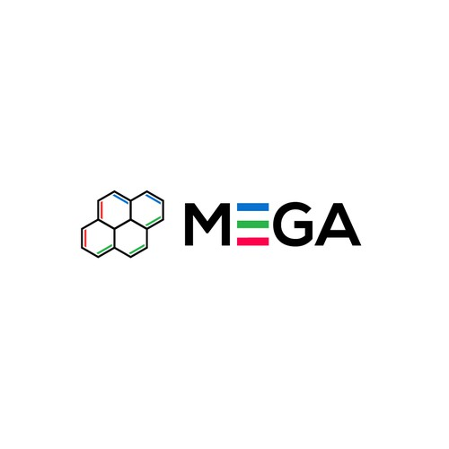 Molecule logo with the title 'A meaningful logo for a research project 'MEGA''