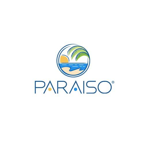 Circle logo with the title 'A Young Fun & Fresh logo for Paraiso A Beach Apartment'