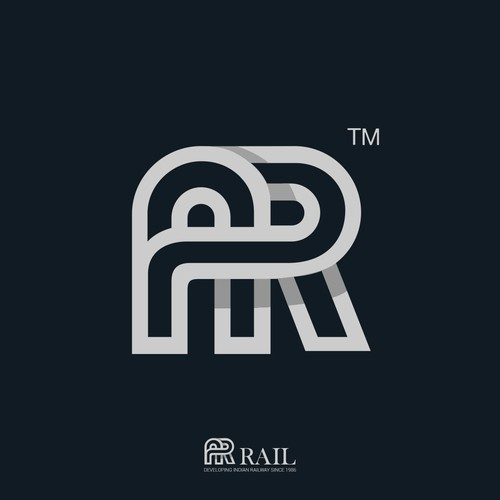 Initial brand with the title 'Monogram AR for railway company'