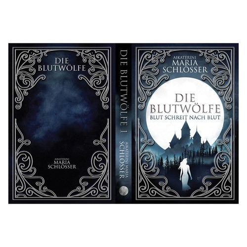 Moon design with the title 'DIE BLUTWÖLFE 01 - Blut schreit nach Blut'