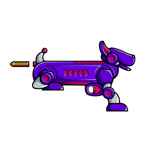 "Toy artwork with the title '""Poop"" Shooting Dog Nerf Gun'"