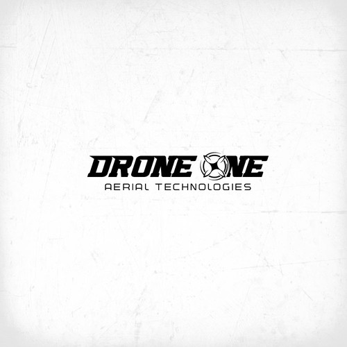 Quadcopter logo with the title 'drone one aerila tchnologies'
