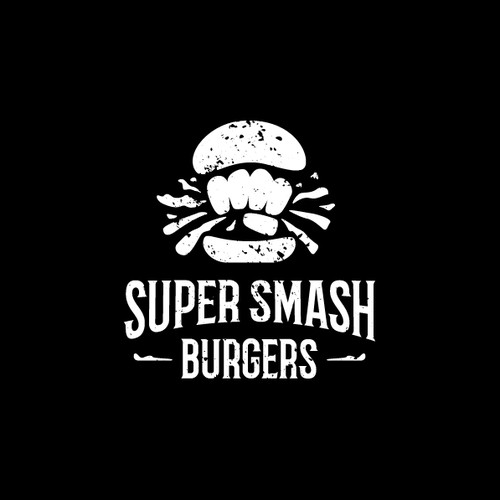 Burger logo with the title 'super smash burgers - logo design'