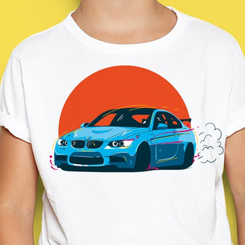 Car t-shirt with the title 'a cool BMW car tshirt design for kids'