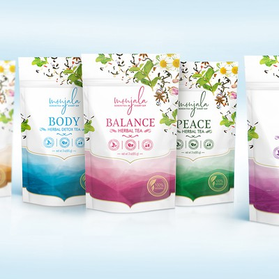 Teas for your mood&health, pouches design