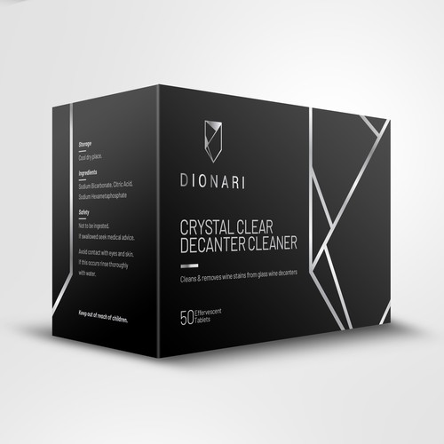 Glass design with the title 'DIONARI Luxurious Stylish Box Design '