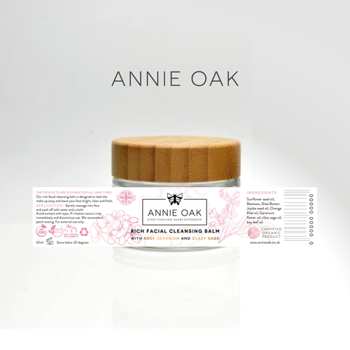 Art label with the title 'Product label for product line of skincare which is using natural ingredients'