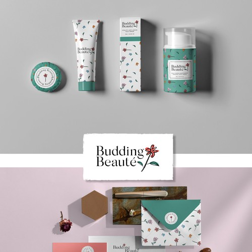 Stylish design with the title 'Floral Logo Concept for Budding Beaute'