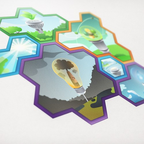 Set design with the title 'Hexagon Game Pieces Design'