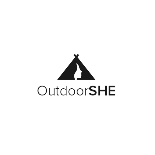 Woman logo with the title 'Outdoorshe'