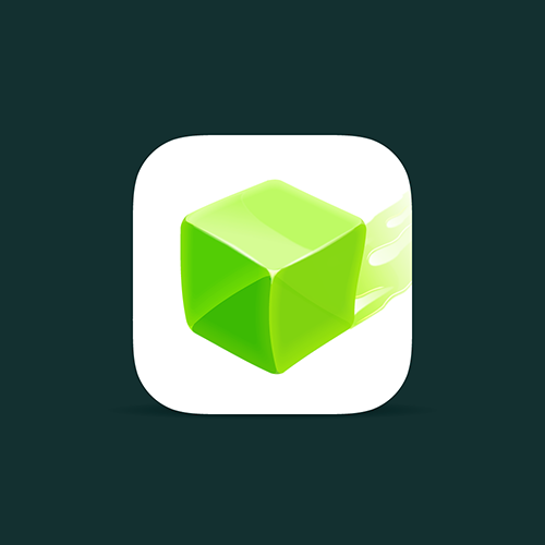 Cube design with the title 'Jelly's Quest App Icon'