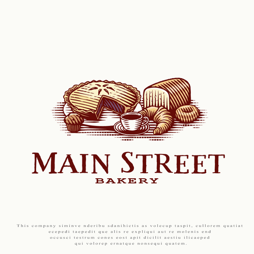 Cupcake logo with the title 'Logo for Main Street Bakery'