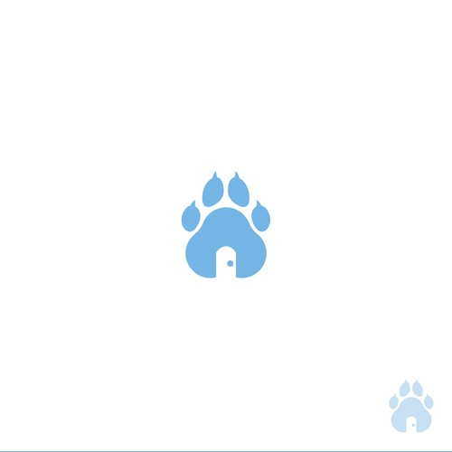 Dog paw logo with the title 'Home visit Vet logo'