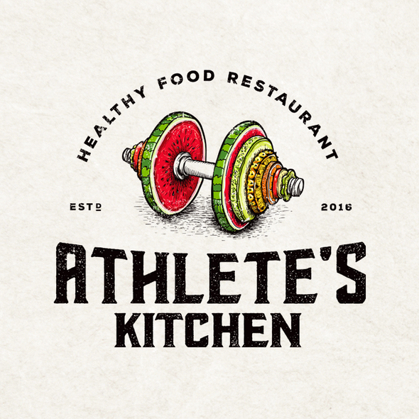 Healthy food design with the title 'Athlete's Kitchen'