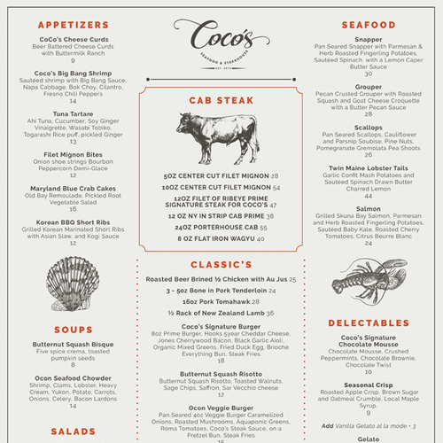 Bistro design with the title 'One page menu for steakhouse'