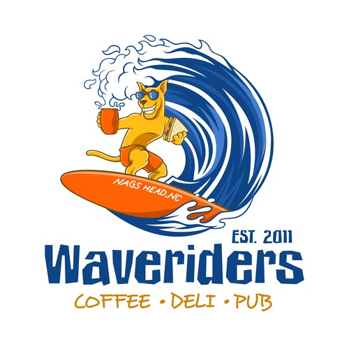 Rider design with the title 'Waveriders Coffee Deli Pub'