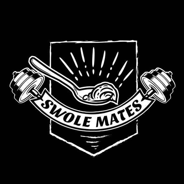 Barbell t-shirt with the title 'Swole Mates'