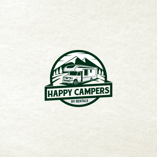 Camper logo with the title 'Create a FEEL Happy, Professional Logo for An RV Rental Company!'