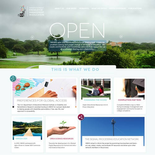 Nonprofit website with the title 'Website design for nonprofit global education business'