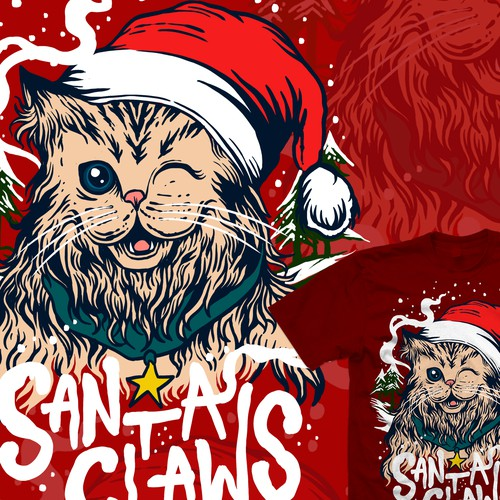 Christmas tree design with the title 'Santa Claws cute cat'