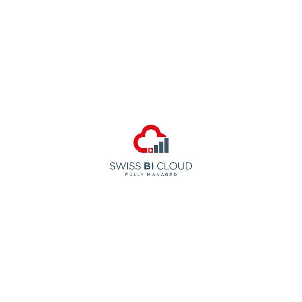 Swiss logo with the title 'Logo Design for Swiss BI Cloud'