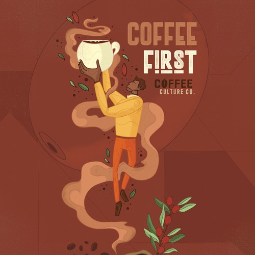Wall art illustration with the title 'Coffee Wall'