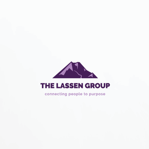 Purple and yellow logo with the title 'Logo inspired by Lassen Peak'