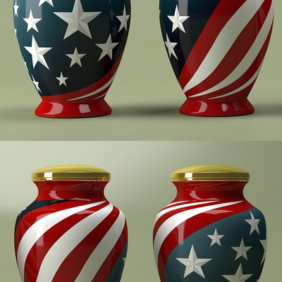 Funeral Urn Based on American Flag