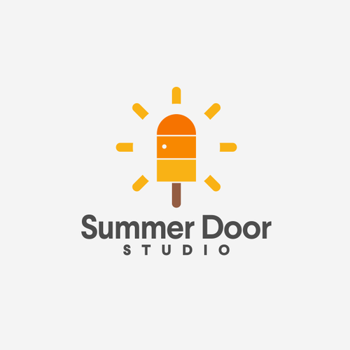 Sun brand with the title 'popsicle + Door + sun logo concept'